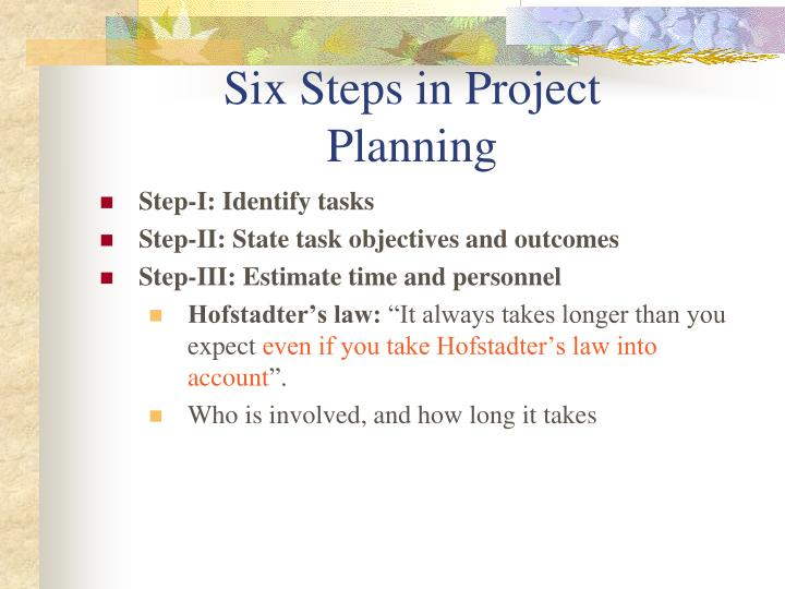 Six steps in project planning
