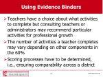 using evidence binders