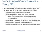 yao s scrambled circuit protocol for 2 party sfe