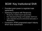 bgw key institutional shift