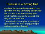 pressure in a moving fluid