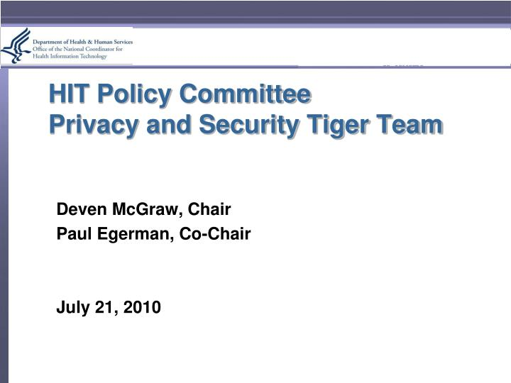 hit policy committee privacy and security tiger team n.