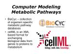 computer modeling metabolic pathways