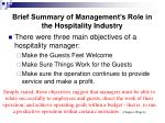 brief summary of management s role in the hospitality industry