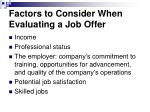 factors to consider when evaluating a job offer