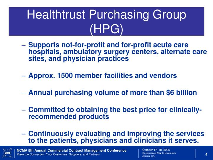 Healthtrust Purchasing Group (HPG)