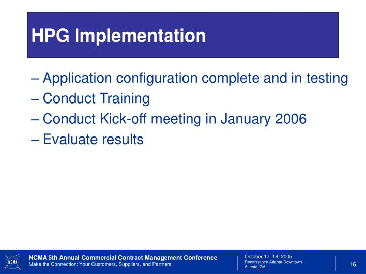 HPG Implementation