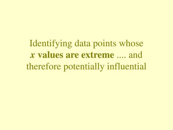 Identifying data points whose