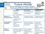 future worlds from managing tomorrow s people the future of work to 2020 pwc 2007