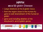 hpfh as a globin disease
