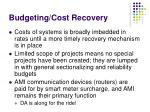 budgeting cost recovery