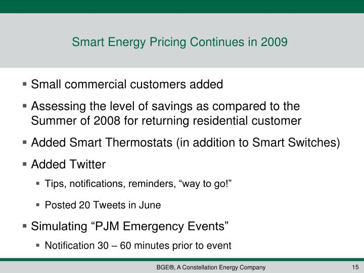 Smart Energy Pricing Continues in 2009