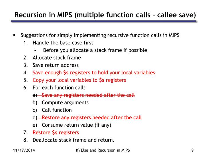 Recursion in MIPS (multiple function calls – callee save)