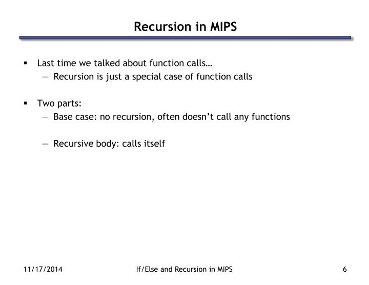Recursion in MIPS