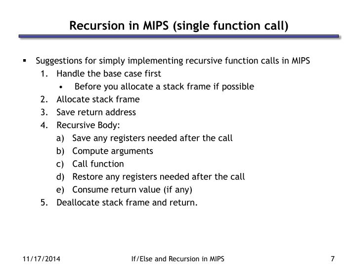 Recursion in MIPS (single function call)