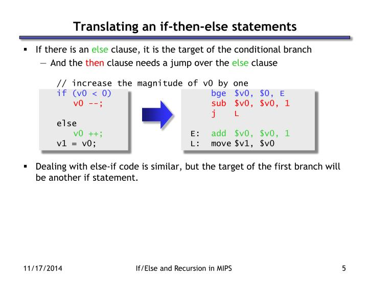 Translating an if-then-else statements
