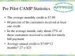 pre pilot camp statistics