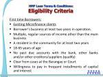 hmf loan terms conditions eligibility criteria