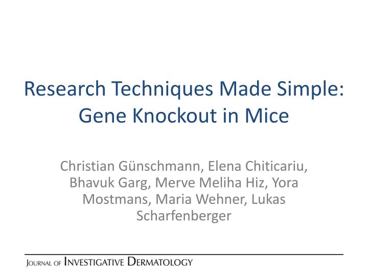 research techniques made simple gene knockout in mice n.