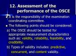12 assessment of the performance of the osce