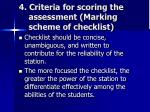 4 criteria for scoring the assessment marking scheme of checklist