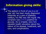information giving skills