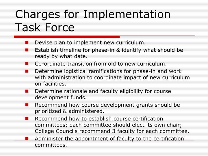 Charges for Implementation Task Force