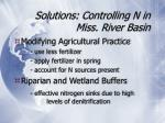 solutions controlling n in miss river basin