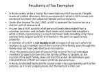 peculiarity of tax exemption