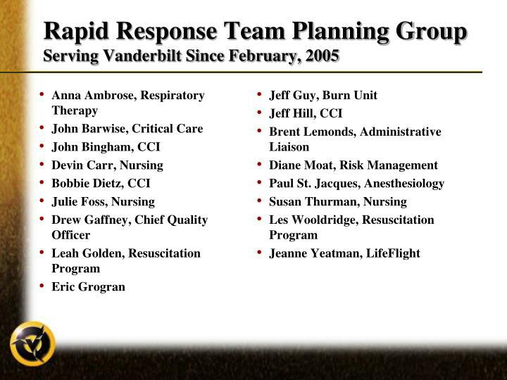 Rapid response team planning group serving vanderbilt since february 2005