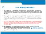 1 1 a rating indicators