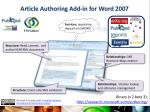 article authoring add in for word 2007