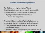 author and editor experience