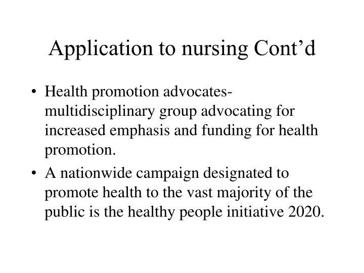 Application to nursing Cont'd