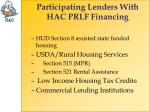 participating lenders with hac prlf financing