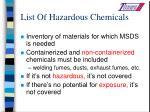 list of hazardous chemicals