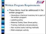written program requirements