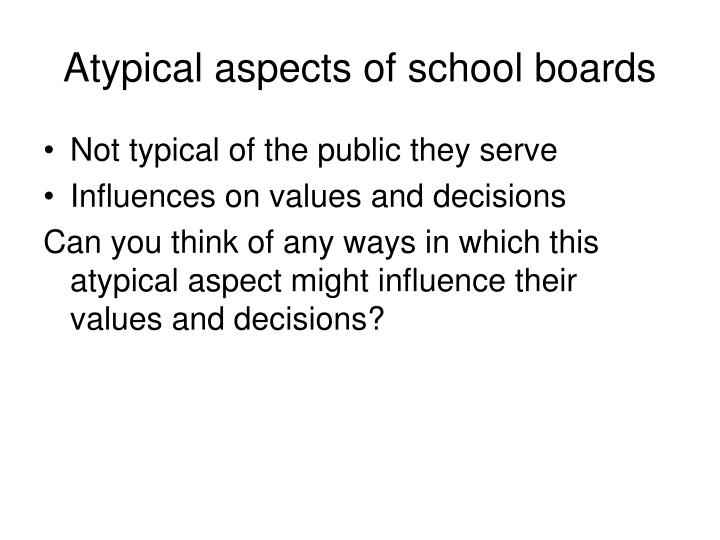 Atypical aspects of school boards