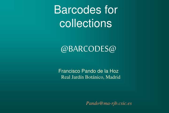 barcodes for collections n.