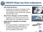 create ships has three subprojects