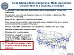 establishing a multi institutional multi disciplinary collaboration is a daunting challenge