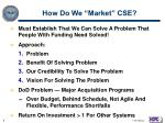 how do we market cse
