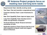 rf antenna project projects focus on meeting near and long term needs