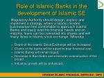 role of islamic banks in the development of islamic se