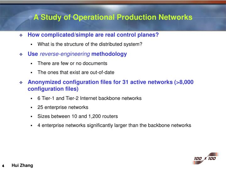 A Study of Operational Production Networks
