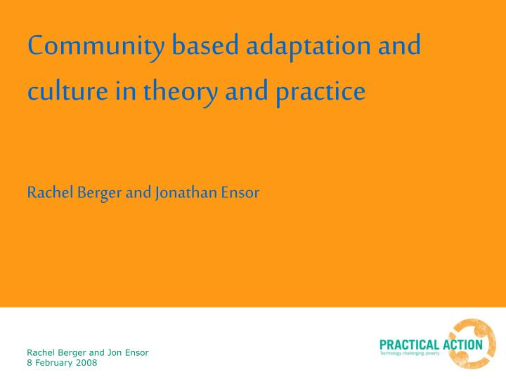 community based adaptation and culture in theory and practice n.