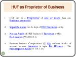 huf as proprietor of business