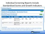 individual screening reports include standardised scores and growth indicators