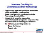 inventors can help to commercialize their technology