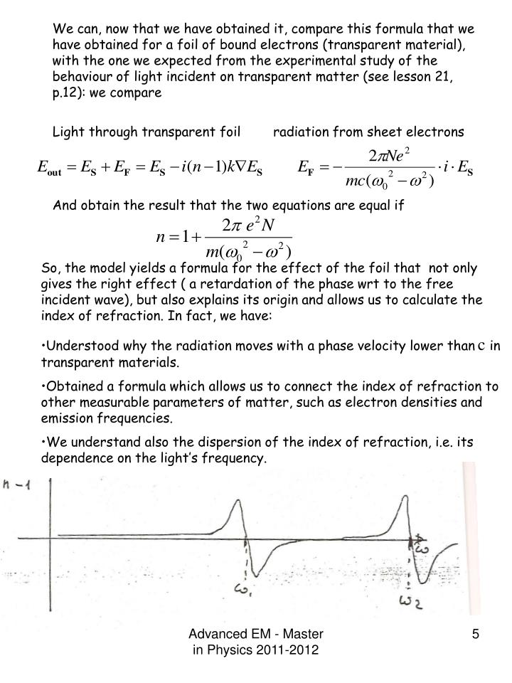 We can, now that we have obtained it, compare this formula that we have obtained for a foil of bound electrons (transparent material), with the one we expected from the experimental study of the behaviour of light incident on transparent matter (see lesson 21, p.12): we compare